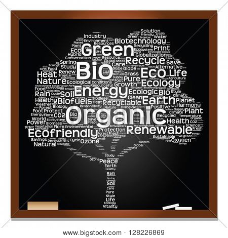 Vector conceptual white tree on blackboard made of ecology, recycle or energy text as wordcloud isolated on black background