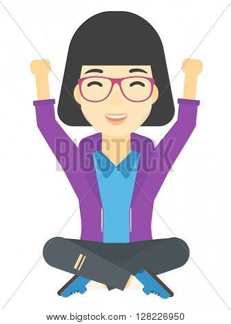 Woman sitting with crossed legs and raised hands up.