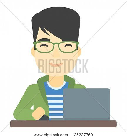 Man working at laptop.