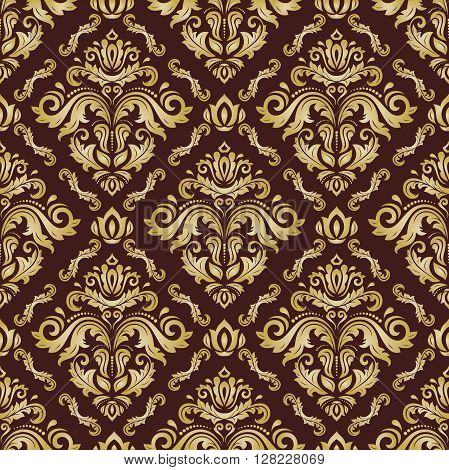 Seamless oriental pattern in the style of baroque. Traditional classic vector pattern. Golden pattern. Orient pattern. Brown and golden pattern. Colored pattern. Asian pattern