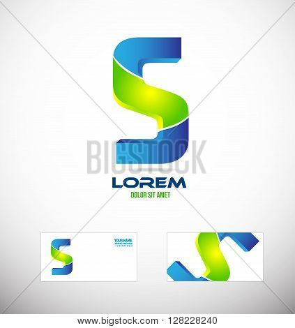 Vector company logo icon element template alphabet letter s 3d blue green