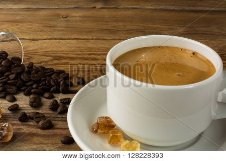Cup of strong morning coffee and brown sugar. Cup of coffee. Morning coffee. Coffee break. Strong coffee