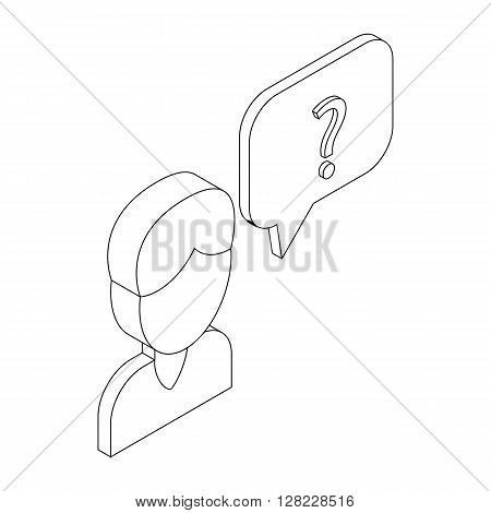 Male consultant and speech bubble with question icon in isometric 3d style on a white background