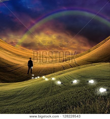 Rainbow landscape and man concept 3D Render