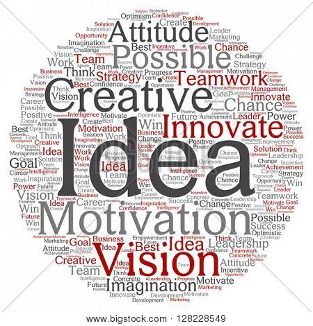 Vector concept or conceptual abstract creative business word cloud on white background