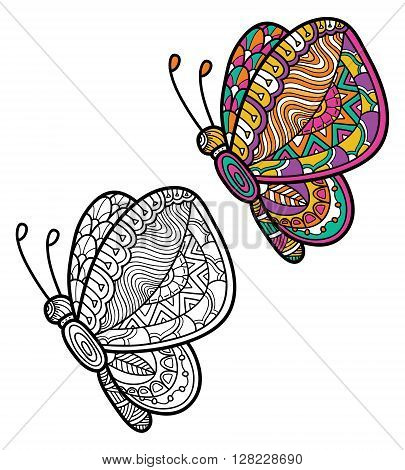 Cute zentangle ornate butterfly. Vector illustration of cute ornate zentangle butterfly for children or for adult anti stress coloring book