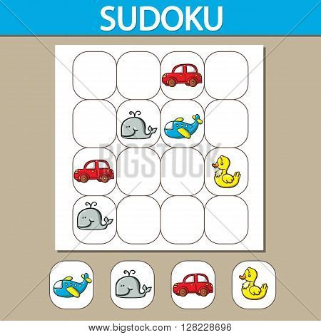 Vector sudoku puzzle game with toys. Can be used as educational game for kids