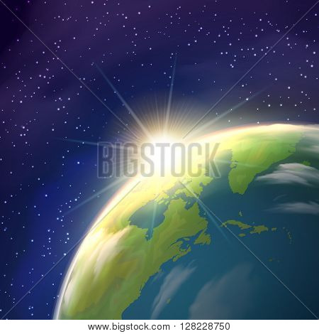 Planet earth globe  pace view with bright rising sun and stars constellations on blue background  realistic  poster vector illustration