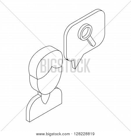 Male consultant and speech bubble with magnifying glass icon in isometric 3d style on a white background