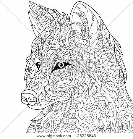 Zentangle stylized cartoon wolf isolated on white background. Hand drawn sketch for adult antistress coloring page T-shirt emblem logo or tattoo with doodle zentangle floral design elements.