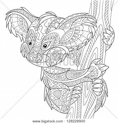 Zentangle stylized cartoon koala bear isolated on white background. Hand drawn sketch for adult antistress coloring page T-shirt emblem logo or tattoo with doodle zentangle floral design elements.