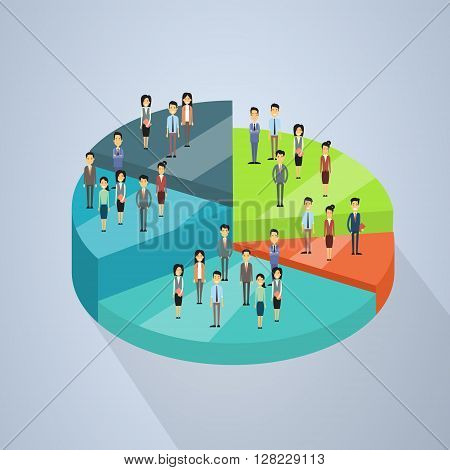 Business People Group Stand On Pie Diagram Success Teamwork Concept 3d Isometric Vector Illustration