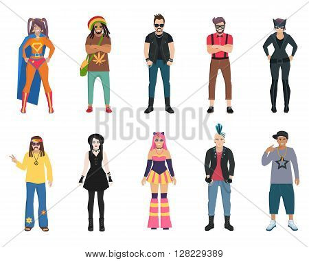 Different subcultures trendy full length man and woman isolated icons set vector illustration