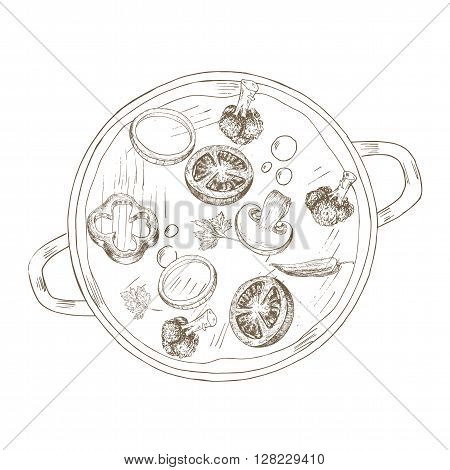 Vegetable soup top view.  Sketch vegetable soup . Hand drawn vegetable soup in saucepan. Vector vegetable soup illustration. Cut organik vegetable. Vegetarian and vegan food.