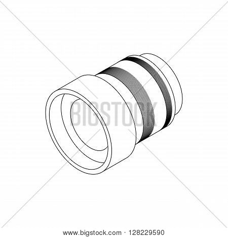 Interchangeable lens for camera icon in isometric 3d style on a white background