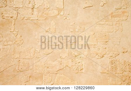 Ancient hieroglyphs on wall