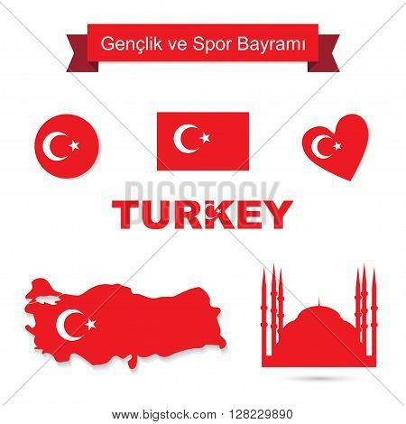 Turkey vector set. Flag and map icons isolated . Blue Mosque silhouette icon