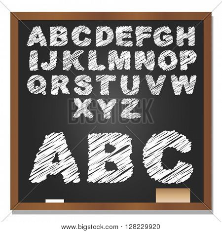 Vector 3D illustration of concept or conceptual set or collection of white grungy handwritten, sketch or scribble font, black school blackboard background