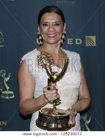 LOS ANGELES - MAY 1:  Sonia Manzano at the 43rd Daytime Emmy Awards at the Westin Bonaventure Hotel  on May 1, 2016 in Los Angeles, CA