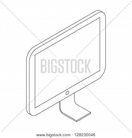 Computer monitor icon in isometric 3d style on a white background