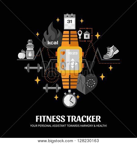 Color poster with black background depicting functions of smart watch fitness tracker vector illustration