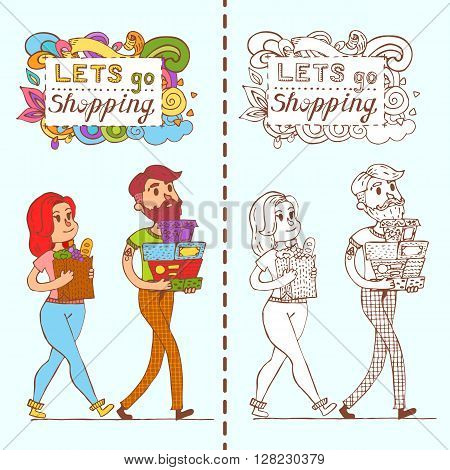Happy Doodle Consumers With A Full Shopping Bags In Shop. Shopper. Sales. Funny Cartoon Character. V