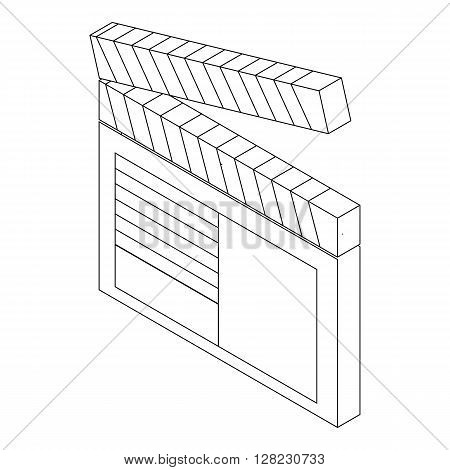 Open clapperboard icon in isometric 3d style on a white background
