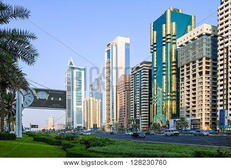 Dubai U.A.E. - November 15 2006: The architectures of the business area of the Sheik Zaied Road.