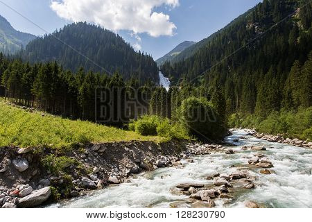 Krimml waterfall in summer Austria. Summer in Alps.
