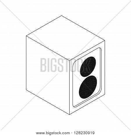 Music speaker icon in isometric 3d style on a white background