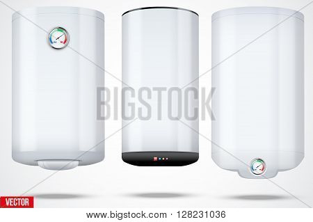Boiler realistic illustration. Different type. Vector isolated on white background.