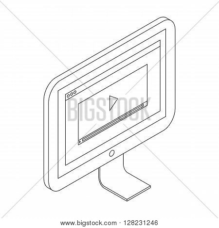 Media player icon in isometric 3d style on a white background