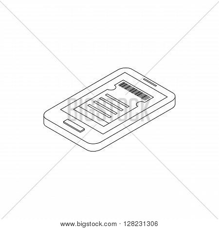 Smartphone with cinema tickets on the screen icon in isometric 3d style on a white background