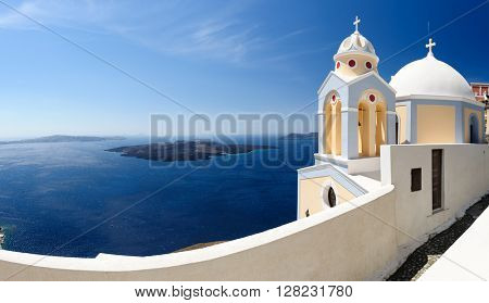 Santorini panorama with church