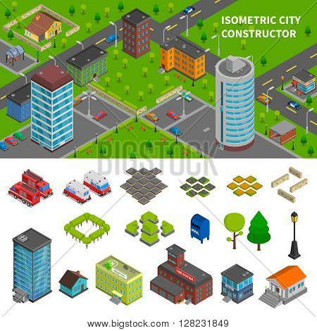 City constructor isometric banners with top view town composition and elements of urban infrastructure vector illustration