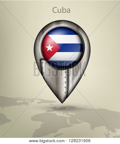 metal map marker steel with glare and shadows cuba