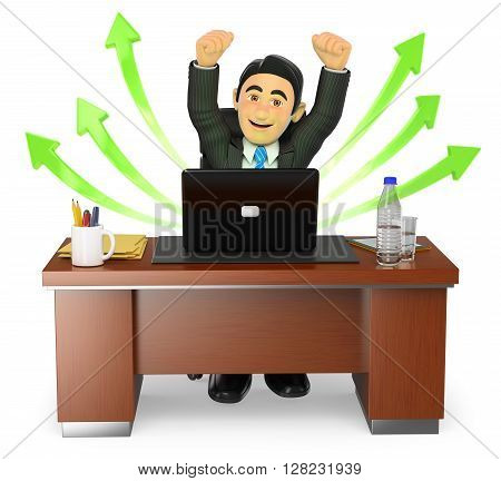 3d business people. Businessman in his office. Success. Green arrows. Isolated white background.