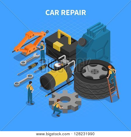 Isometric concept with tools and equipment used in car repair with figures of workers vector illustration