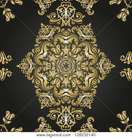 Oriental vector classic pattern. Seamless abstract pattern. Nice pattern with repeating elements. Black and golden pattern. Asian pattern