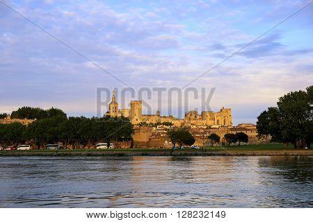 French landmark: Avignon castle at sunset in Provence