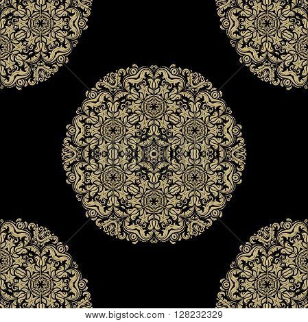 Oriental vector classic pattern. Seamless abstract pattern with repeating elements. Black and golden pattern. Round yellow pattern. Asian pattern. Fine orient pattern