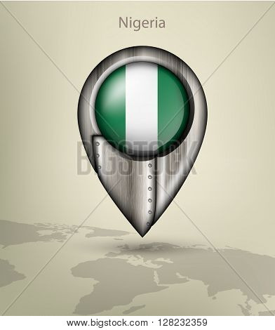 metal map marker steel with glare and shadows nigeria