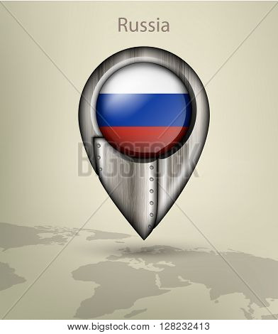 metal map marker steel with glare and shadows russia