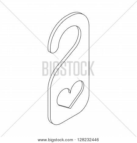 Door hanger with heart icon in isometric 3d style on a white background