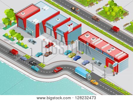 Poster of auto service composition with office garage technical service buildings on city quay isometric vector illustration