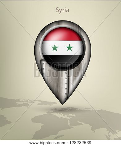 metal map marker steel with glare and shadows syria