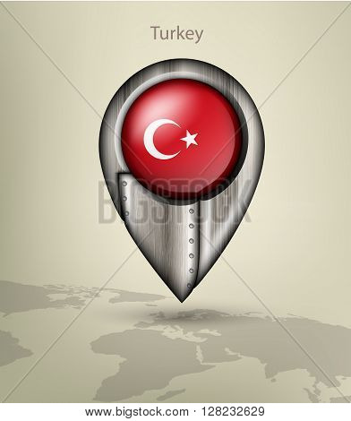 metal map marker steel with glare and shadows turkey