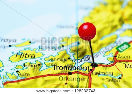 Trondheim pinned on a map of Norway