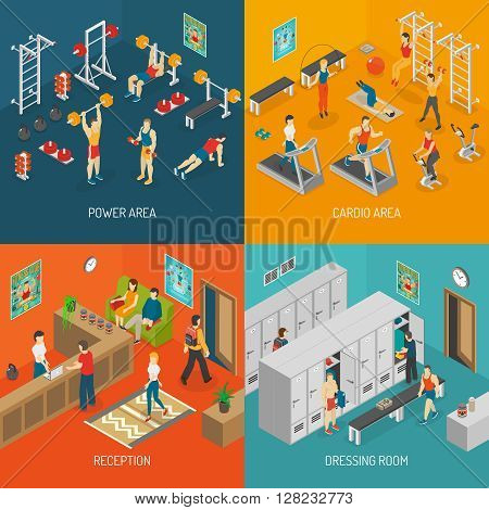 Fitness Isometric Set. Fitness Vector Illustration. Fitness Isolated Elements. Fitness Icons Set. Fitness Concept Collection.