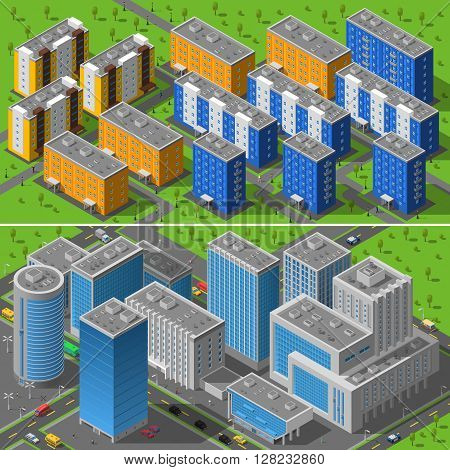 Modern city business center buildings and residential area apartments isometric horizontal banners composition abstract isolated vector illustration